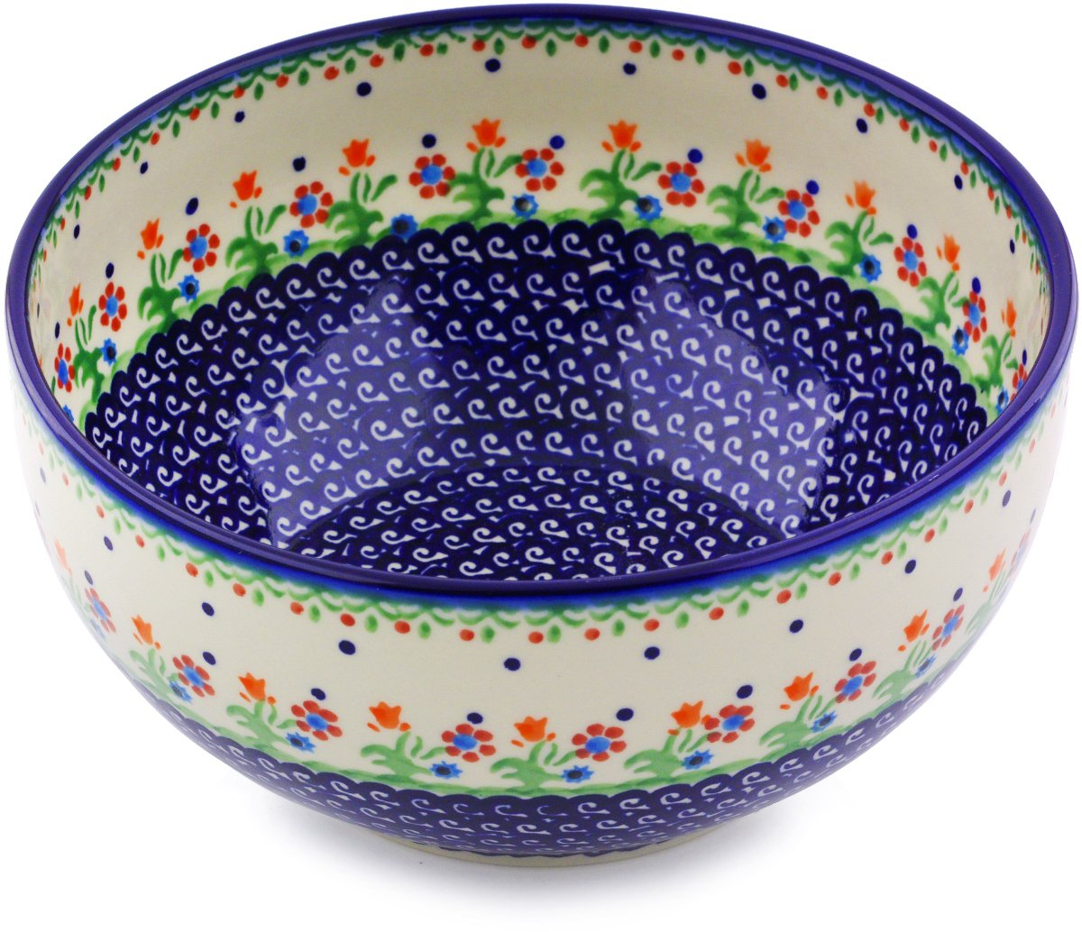 Polish Pottery 9-inch Bowl (Spring Flowers Theme) + Certificate of Authenticity