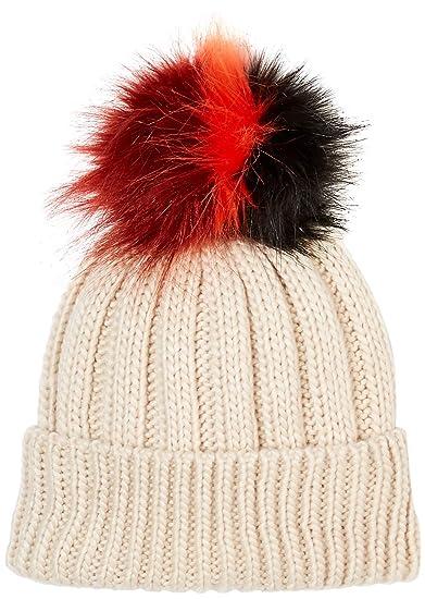 a7476c1afeb Amazon.com  Under Zero Women s Colorful Faux Fur Ball Beige Iceland Wool  Knit Rib Beanie  Clothing
