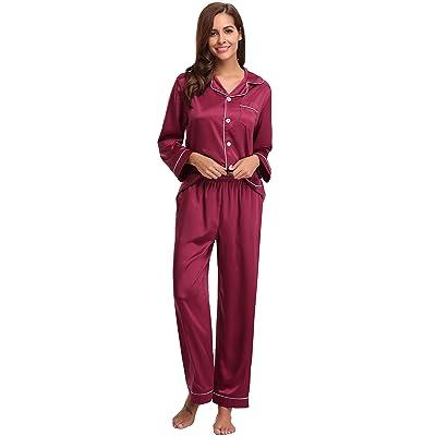 Aibrou Pijamas Mujer Invierno Pijamas Seda con 5 Bolsillos Saten, Suave, Cómodo, Sedoso y Agradable: Ropa y accesorios
