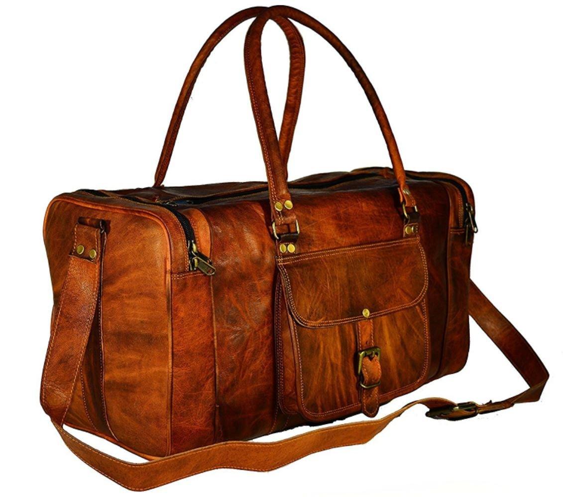 Divine vintage leather duffel bag square leather duffel bag leather bag (22 Inches, Brown)