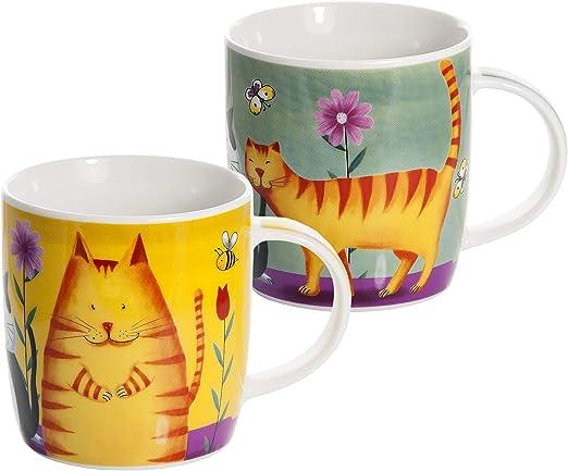 Conjunto 2 tazas desayuno originales de café té con decoración de divertido gatos, color verde y amarillo para microondas, regalo para los amantes de los animales de gato: Amazon.es: Hogar