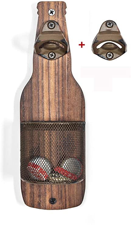Amazon Com Soduku Vintage Wooden Wall Mounted Bottle Opener With Cap Catcher For Beer Lovers Kitchen Dining