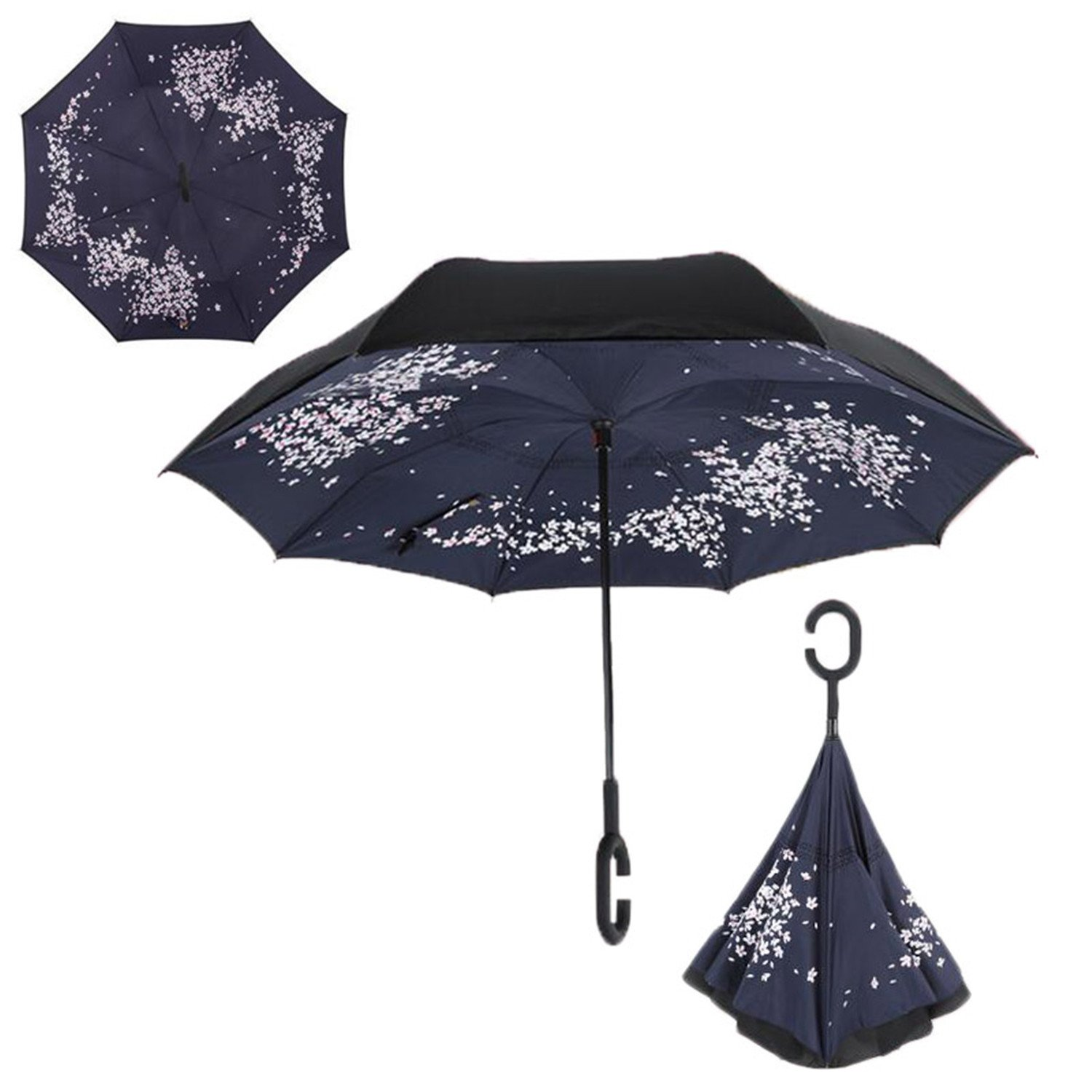 Amazon.com | Soto6ro Folding Reverse Umbrella Double Layer Inverted Windproof Rain Car Umbrellas For Women Cherry Blossoms | Umbrellas