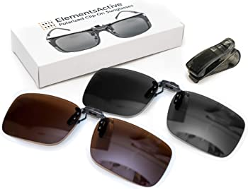 ElementsActive Polarized Clip On Flip Up Sunglasses Set Premium UV400 Anti-Glare