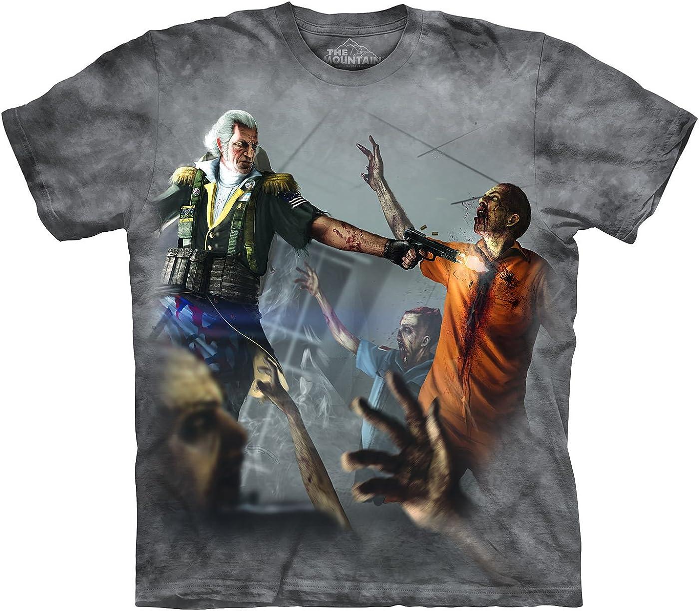 La montaña George Washington Vs Zombies T-Camisa (Humo, Medio): Amazon.es: Ropa y accesorios