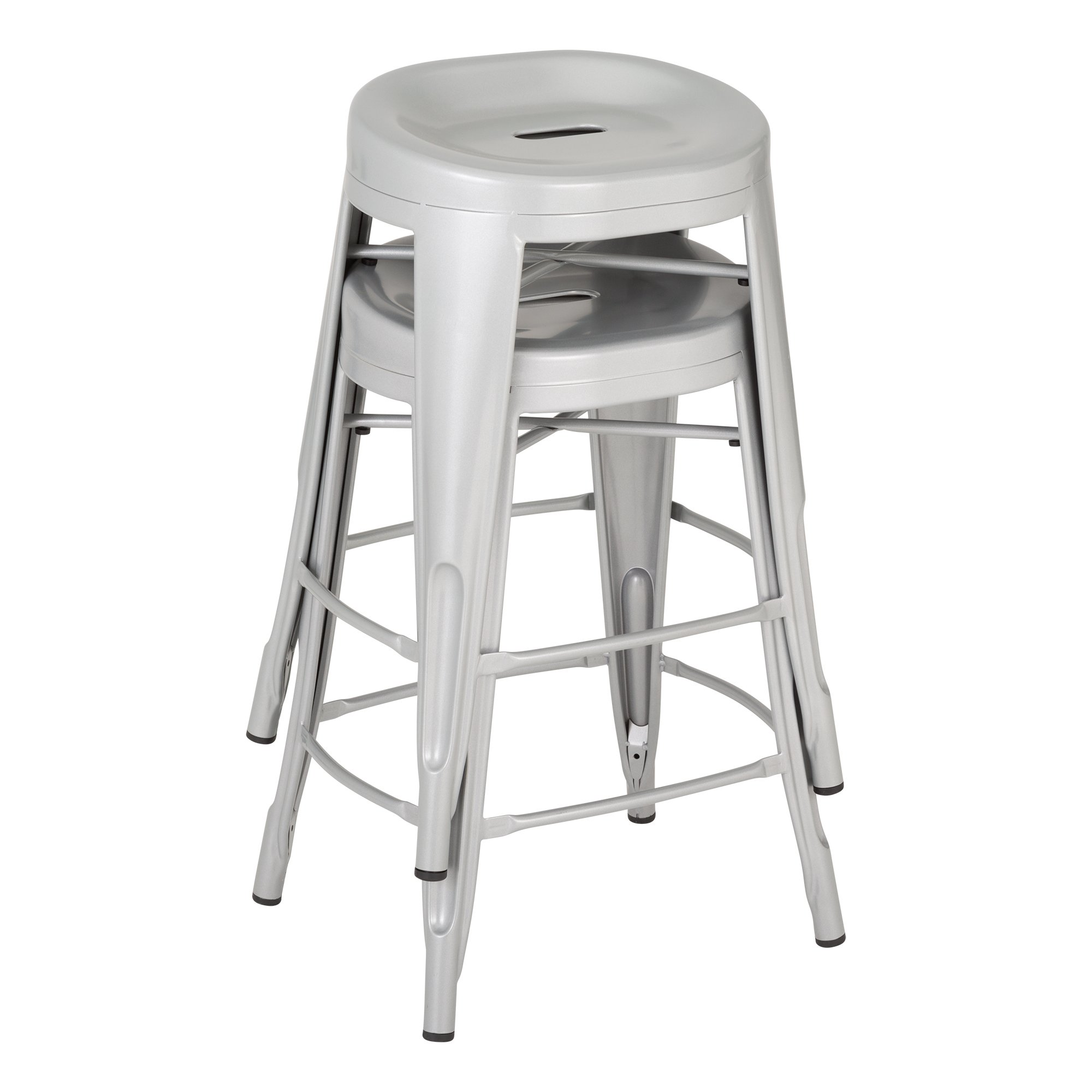 Fat Catalog ALT-XUW-1001SL Modern Industrial Metal Bar Stool w/ Curved Seat, 24'' Height, 14.2'' Wide, 17.32'' Length, Silver (Pack of 2)