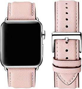 OMIU Square Bands Compatible for Apple Watch 38mm 40mm 42mm 44mm, Genuine Leather Replacement Band Compatible with Apple Watch Series 6/5/4/3/2/1, iWatch SE (Pink Sand/Silver Connector, 38mm 40mm)