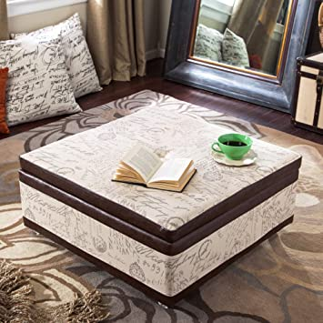 Armen Living Corbett Leather And Linen Coffee Table Storage Ottoman