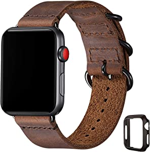 Vintage Leather Bands Compatible with Apple Watch Band 38mm 40mm 42mm 44mm, Genuine Leather Retro Strap Compatible for Men Women iWatch SE Series 6/5/4/3/2/1(Brown+Black connector,38mm 40mm)