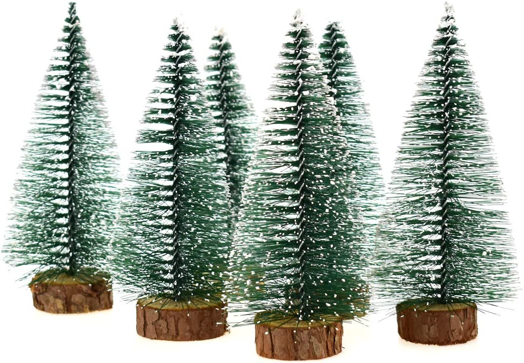 Hagao Mini Snow Frost Trees Mini Christmas Tree Plastic Winter Snow Ornaments Tabletop Trees for Holiday Party DIY Room Decor Home Table Top Christmas Decoration Diorama Models 150mm 6 Pcs