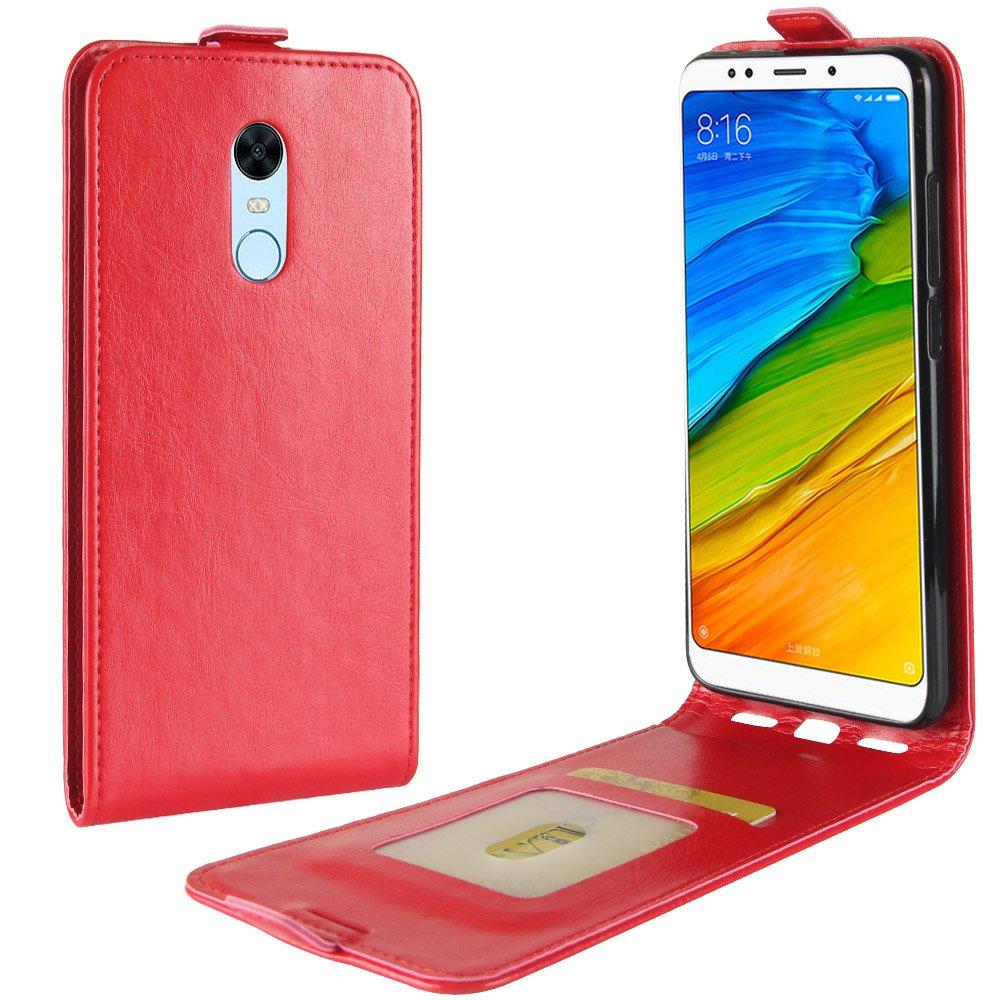 Custodia per Xiaomi Redmi Note 5,Redmi 5 Plus, 95street Custodia Portafoglio in pu Pelle, Portafoglio Cover con Porta Carte, Funzione Stand, Chiusura Magnetica Per Xiaomi Redmi Note 5,Redmi 5 Plus,Marrone