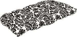 Pillow Perfect Outdoor Essence Wicker Loveseat Cushion, Black/Beige