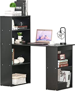 HOMCOM Modern Compact Computer Desk with 6-Tier Storage Shelves Combo, Writing Table Workstation with Bookshelf for Home Office, Black