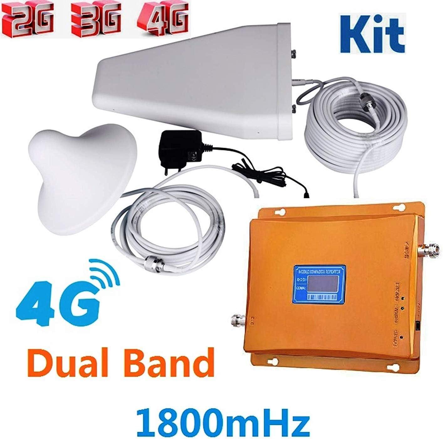 puntoluceled Ripetitore Kit 1800MHz Amplificatore Segnale gsm LTE UMTS con Display CDMA 2G 3G 4G Amplificatore per Cellulare
