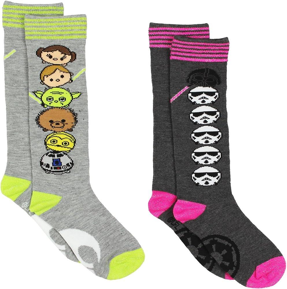 Big Kid Shoe Size To Women S.Tsum Tsum Star Wars Girls Womens 2 Pack Knee High Socks Toddler Little Kid Big Kid
