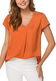 7dbd1b95 ACONIYA Women'Short Sleeve Blouse Casual Office Work V Neck Chiffon Shirt  Elegant Vintage Loose