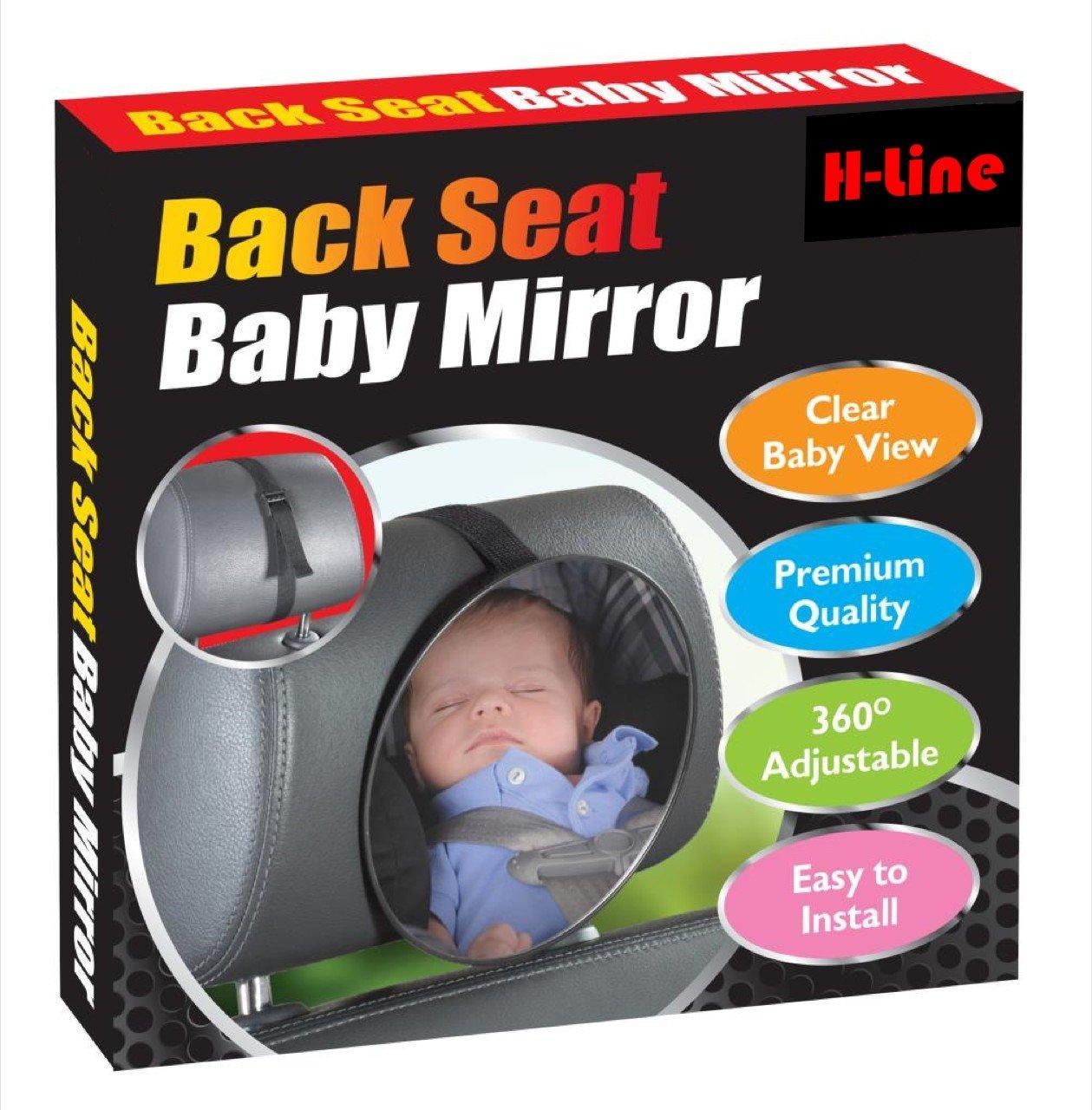 H-LINE ADJUSTABLE ROUND REAR BACK SEAT BABY CHILD CAR SAFETY WIDE VIEW MIRROR HEADREST