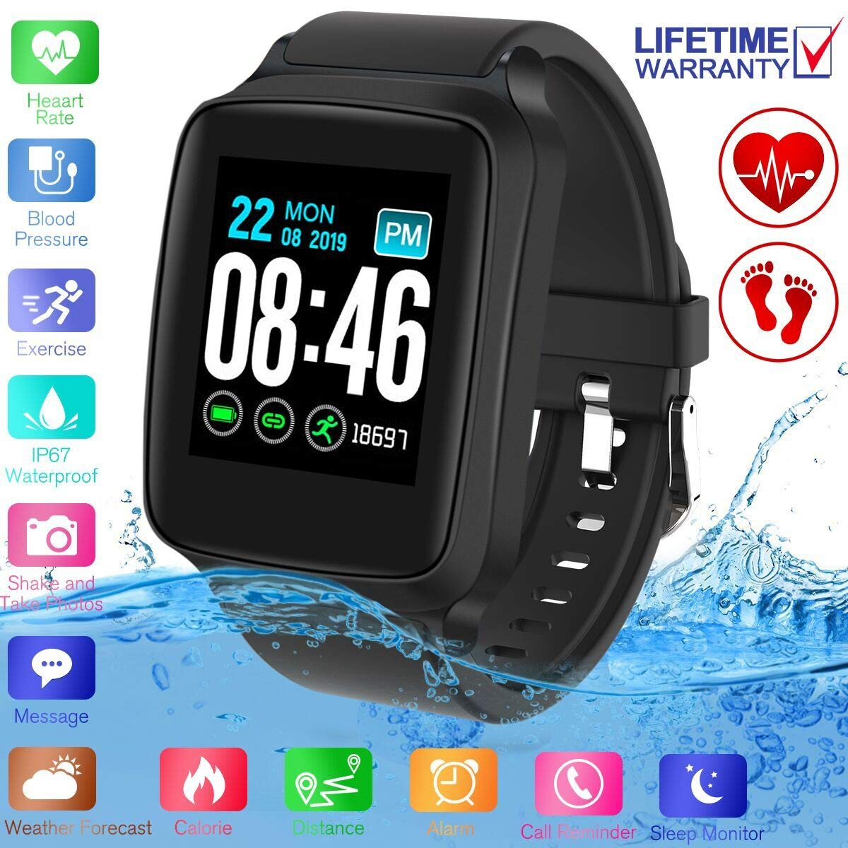 SFABFEMIT Fitness Tracker,Activity Tracker with Heart Rate Monitor Touchscreen,Waterproof Bluetooth Smartwatch Sport Fitness Activity Tracker Watch Compatible with Android Phone Kids Women