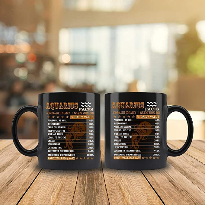 034489c4b92 Amazon.com: Aquarius Facts Awesome Mug For Aquarius Zodiac Coffee Mug 11oz  Gift Tea Cups 11oz: Kitchen & Dining