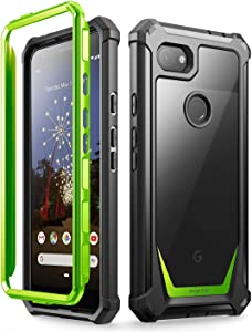 Poetic Google Pixel 3a Rugged Clear Case, Full-Body Hybrid Shockproof Bumper Cover, Built-in-Screen Protector, Guardian Series, Case for Google Pixel 3a (2019 Release), Green/Clear
