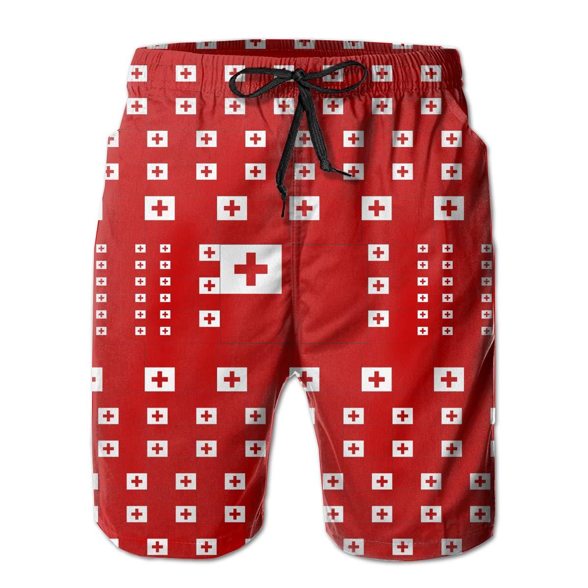 FASUWAVE Mens Swim Trunks Tonga Flag Quick Dry Beach Board Shorts with Mesh Lining