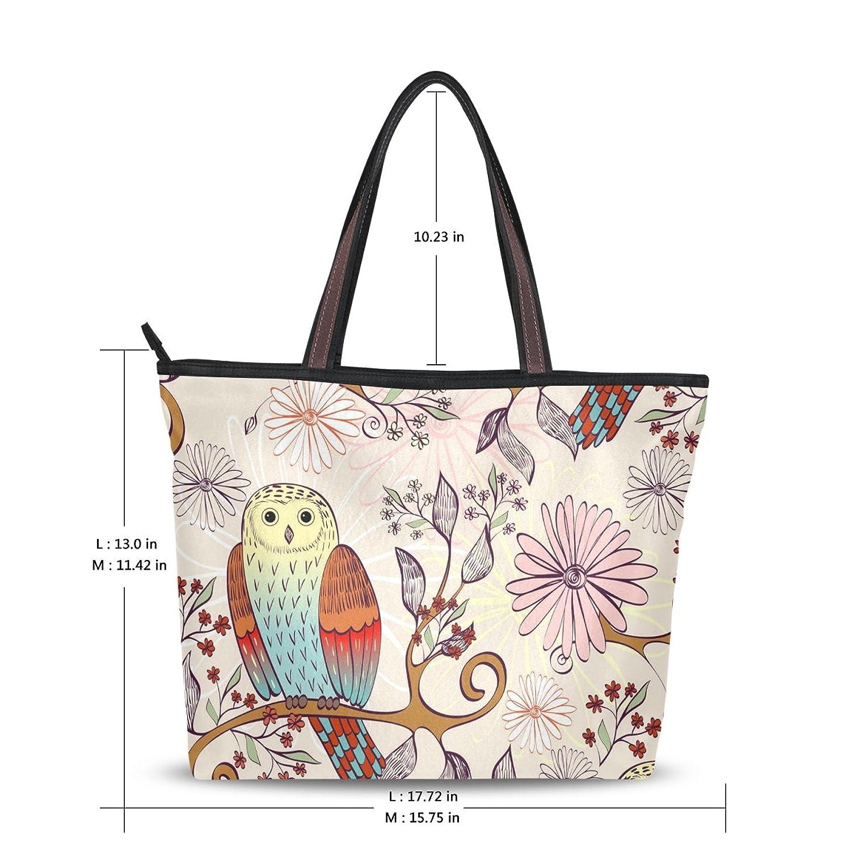 WHBAG Lightweight Handbag For Women,Cute Pink Owlet Floral,Tote Bag