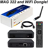 MAG 322 Original Infomir Linux IPTV Set Top Box Multimedia Player Internet TV IP Receiver HEVC H.265 The 254 Successor with UK Plug HDMI Cable and XstreamTec USB WLAN WiFi Dongle Antenna