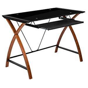 Flash Furniture Black Glass Computer Desk with Pull-Out Keyboard Tray and Crisscross Frame