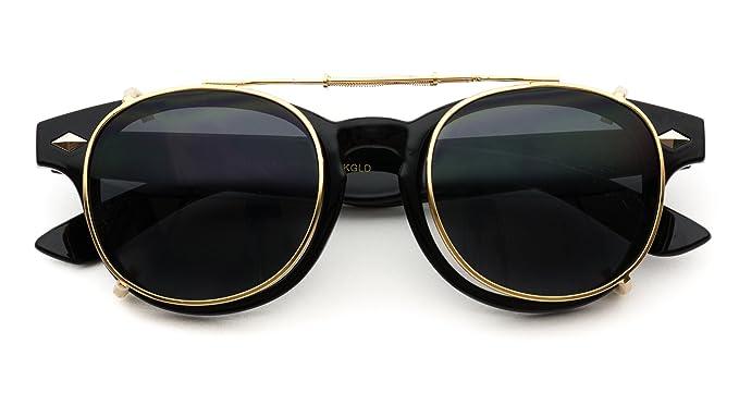 b9e95100d0 Image Unavailable. Image not available for. Color  Fashion Vintage Clip On  Lens Retro Sunglasses