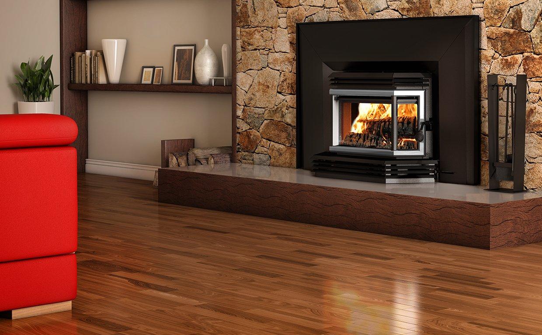 Osburn 2200 Wood Insert Brushed Nickel Door Overlay, Large Faceplate, Trim Kit (32x50) by Osburn