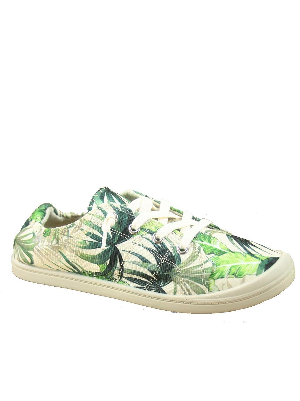 Soda Zig-s Women's Causal Flat Heel Slip On Lace up Look Sneaker Shoes B07DV2G6KG 5.5 B(M) US|Green Multi