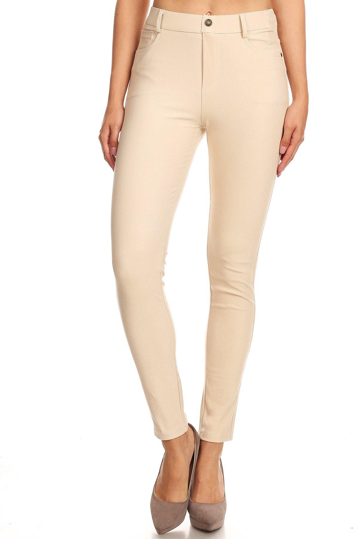 Jvini Women's Ultra Soft Pull-On Skinny Knit Denim Jean Leggings Khaki S