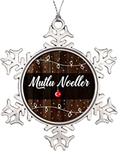 Christmas Ornaments, Turkish Merry Christmas Mutlu Noeller Pewter Ornament, Snowflake Ornament Tree Hanging Decor Gift,3 Inch