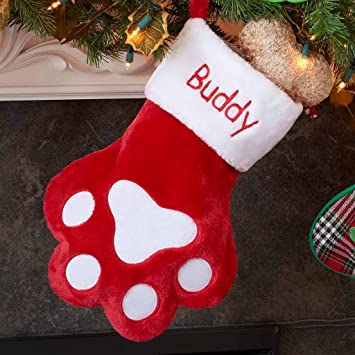 Christmas Stocking Personalized.Dibsies Personalization Station Personalized Dog Paw Christmas Stocking