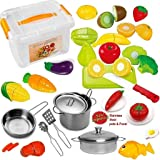 FUNERICA Pretend Play Food set for Kids - With Beautiful Storage Container - Set Includes Cuttable Play Fruits and Vegetables - Poultry - 3 Stainless-Steel Toy Pots and Pans - Knife and More