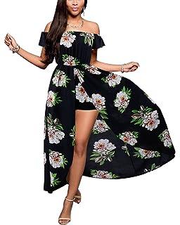 183acfa983 BIUBIU Women s Off Shoulder Floral Rayon Party Split Maxi Romper Dress S-3XL