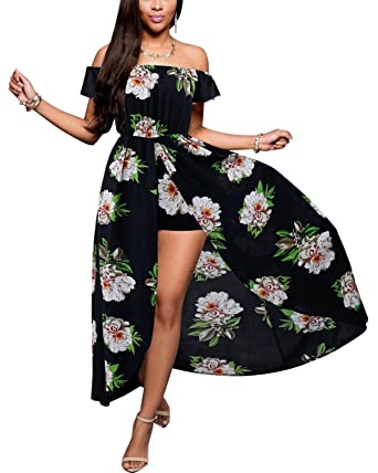 Biubiu Womens Off Shoulder Floral Rayon Party Split Maxi Romper
