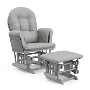 StorkCraft Hoop Glider and Ottoman Cushions, Pebble Gray w/Light Gray
