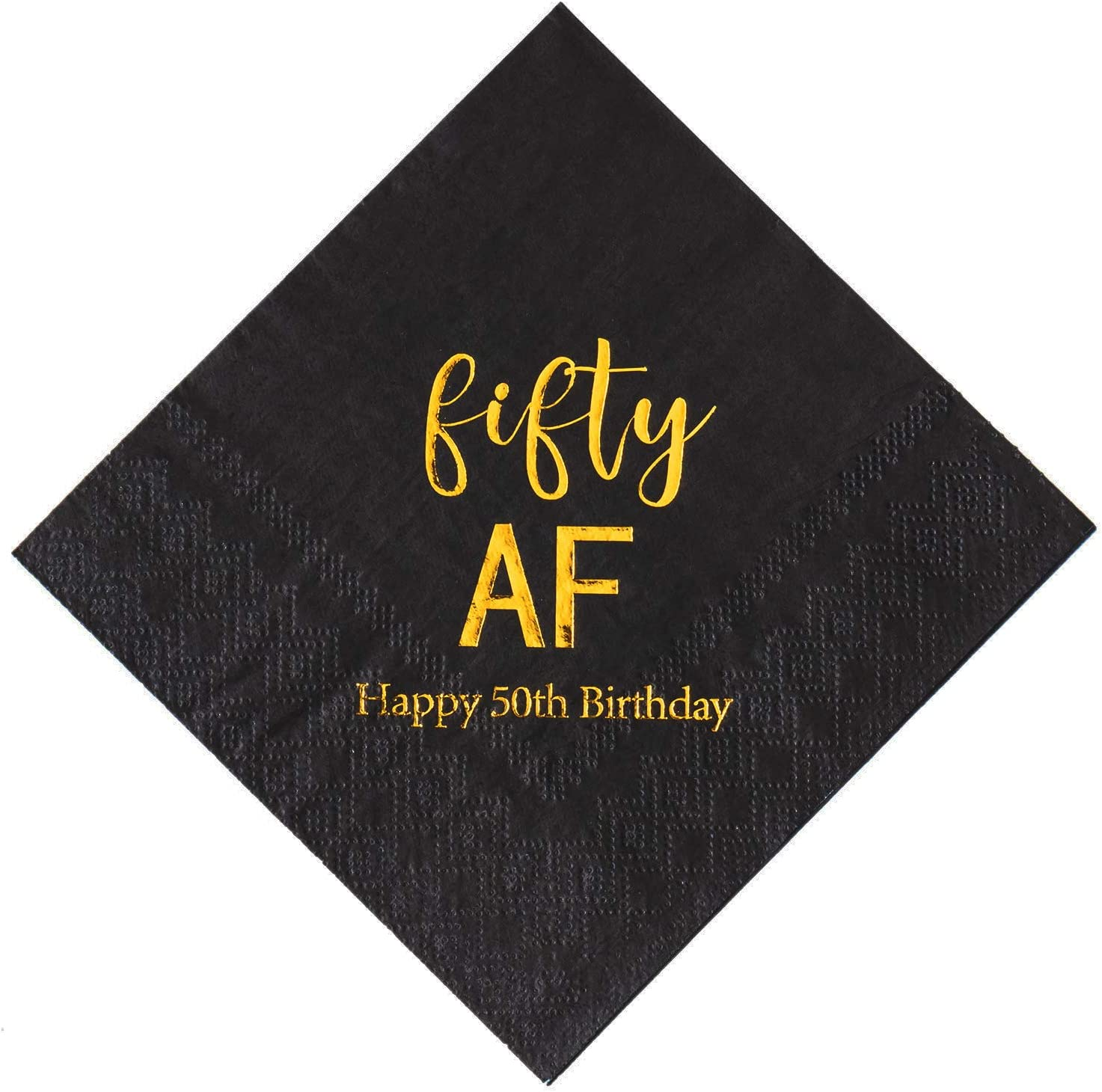 Crisky 50th Birthday Napkins Black Gold Fifty 50th Birthday Cocktail Napkins Beverage Napkins 50th Birthday Party Candy Table Decoration, 50 Count, 3-Ply