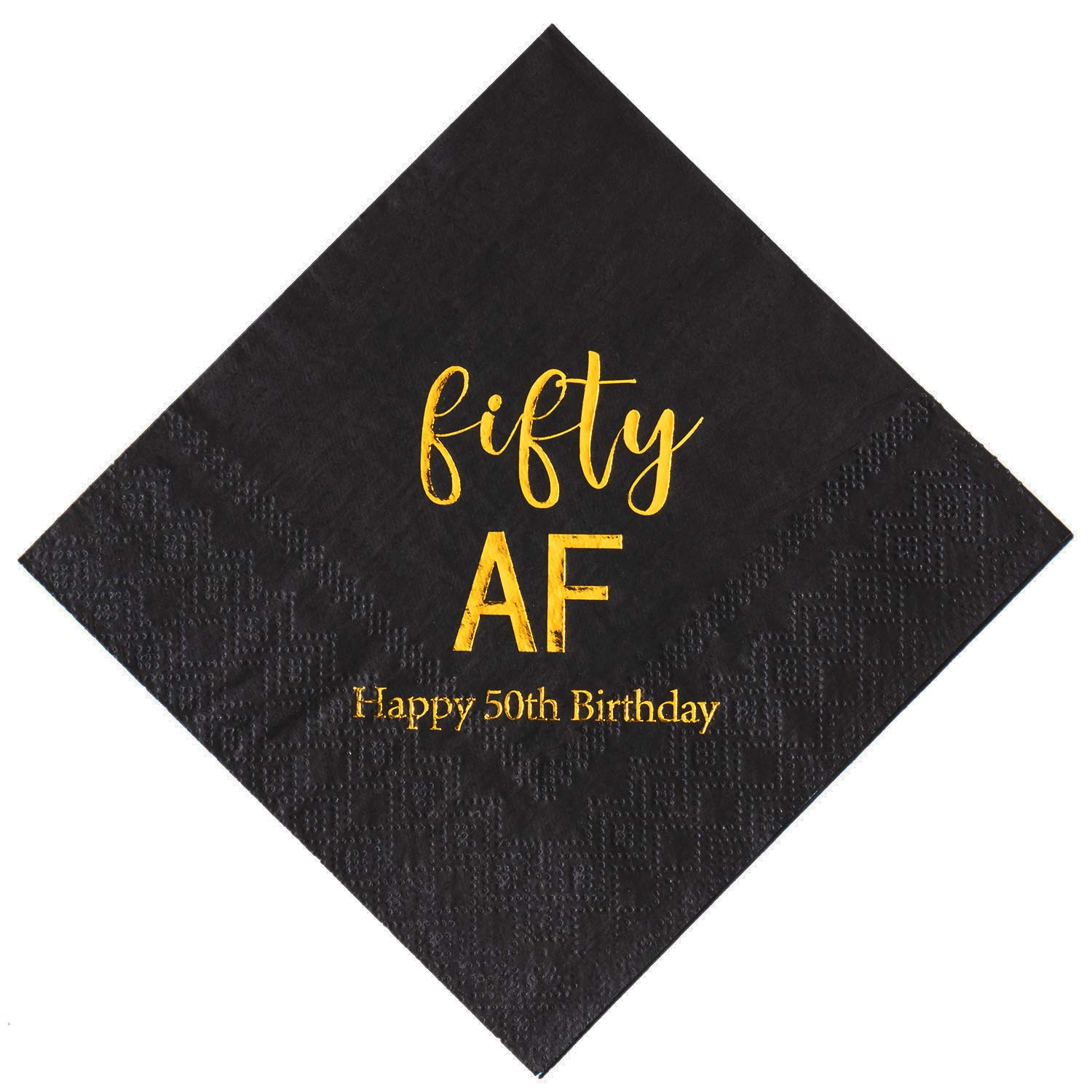 Crisky 50th Birthday Napkins Black Gold Fifty AF 50th Birthday Cocktail Napkins Beverage Napkins 50th Birthday Party Candy Table Decoration, 100 Count, 3-Ply