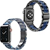 Wearlizer Stainless Steel & Resin Compatible with Apple Watch Band 42mm 44mm for iWatch SE Light Womens Mens Metal Bar Block