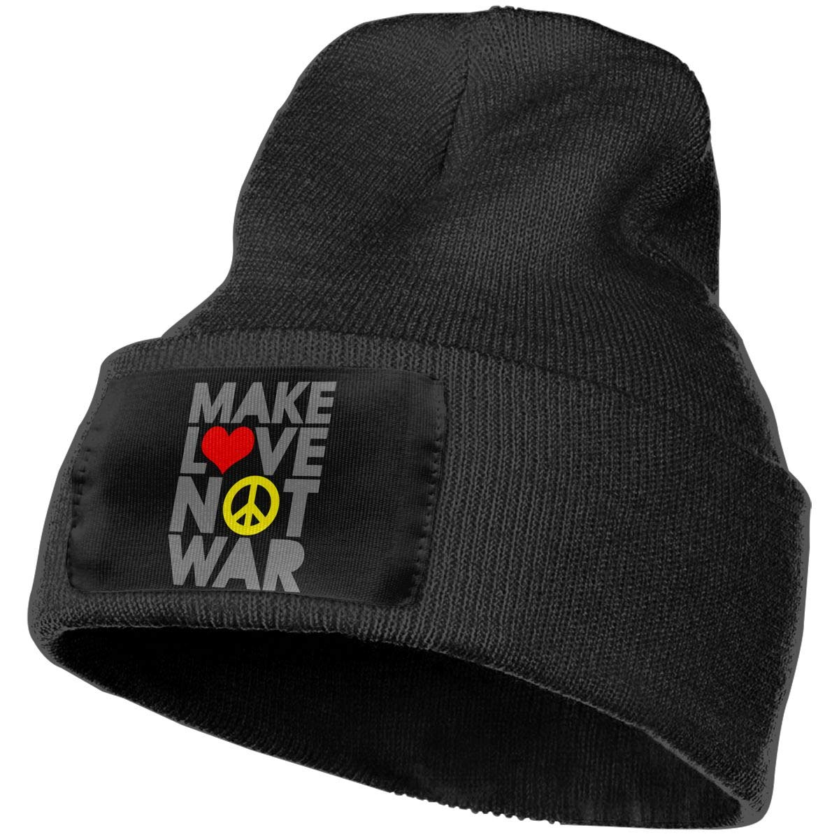 Mens Womens 100/% Acrylic Knitted Hat Cap Love Make Love NOT WAR Warm Beanie Hat
