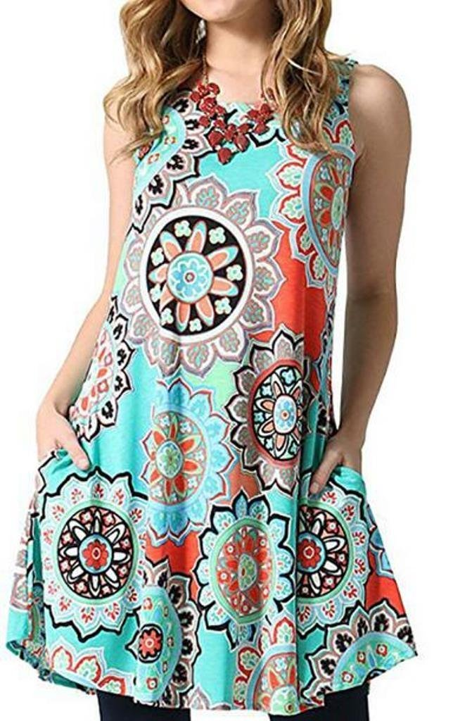 Dress With Pockets ,Tanst Women Summer Dresses Aline Swing Sleeveless Round Neck Bohemia Style Floral Print Comfort Cute Sundress Green L