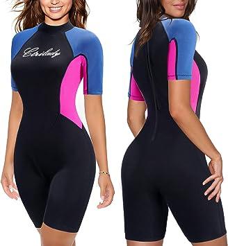Lovache Wetsuit Womens Shorty 2MM Neoprene One Piece Surfing Swimsuit Zipper Short Sleeve Boyleg Sun Protection Diving Rashguard