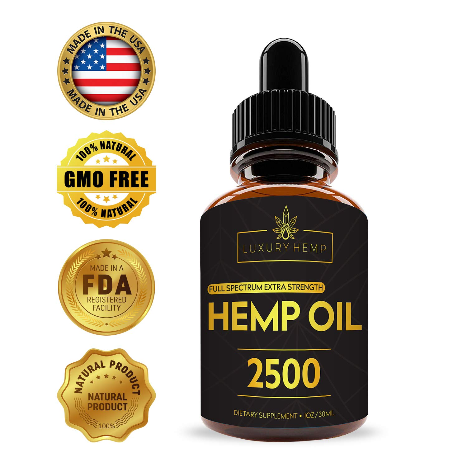 Hemp Oil Extract 2500mg - For Pain Relief - Supports Anxiety Reduction & Mood Support - Helps with Healthy Sleep Patterns - Anti-Inflammatory - Rich in Omega Acids - No THC CBD Cannabidiol Manufacture