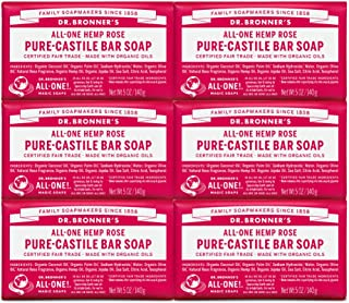 product image for Dr. Bronner's - Pure-Castile Bar Soap (Rose, 5 ounce, 6-Pack) - Made with Organic Oils, For Face, Body and Hair, Gentle and Moisturizing, Biodegradable, Vegan, Cruelty-free, Non-GMO