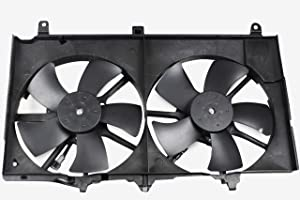 BOXI Dual Radiator A/C Condenser Cooling Fan Motor Assembly for 2003-2006 Nissan 350Z / 2003-2006 Infiniti G35 Sedan / 2003-2007 Infiniti G35 Coupe 21487-CD00A