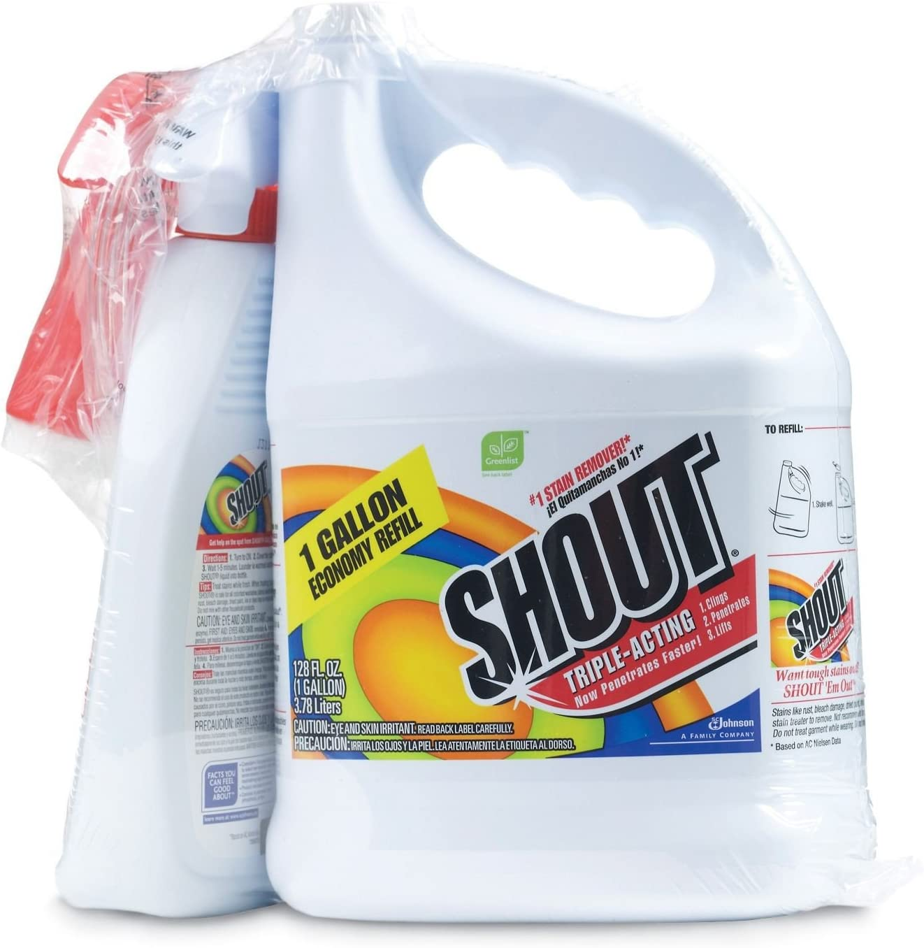 Shout Stain Remover with Extendable Trigger Hose (128oz + 22 oz.)