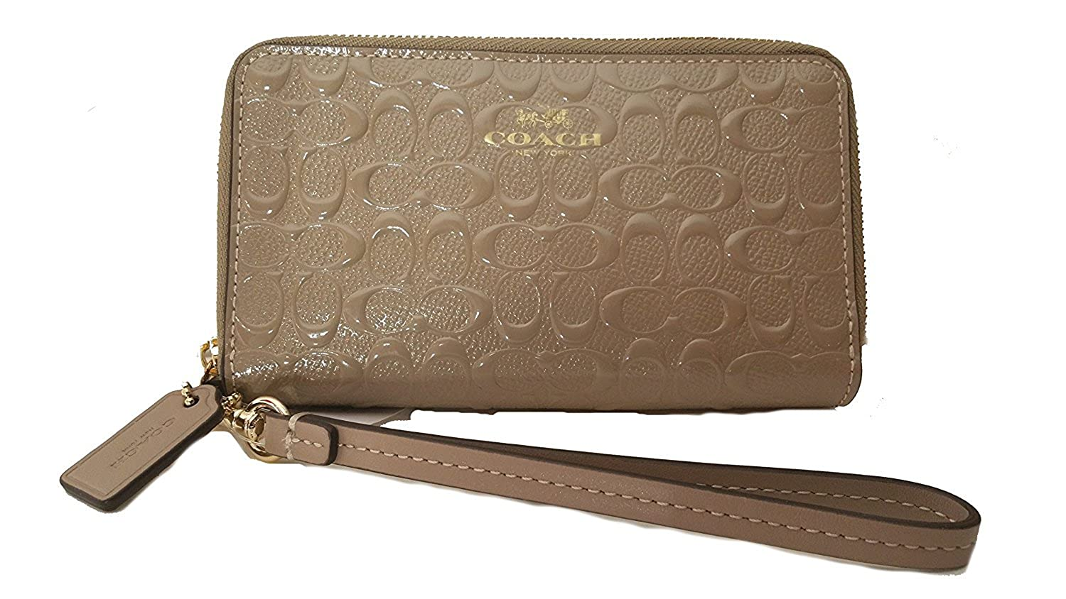 2ae518745 Coach Coach Purse Two Fold the Purse Special F53310 Stone Debossed  Signature Patent Double Zip Phone Wallet: Amazon.co.uk: Clothing
