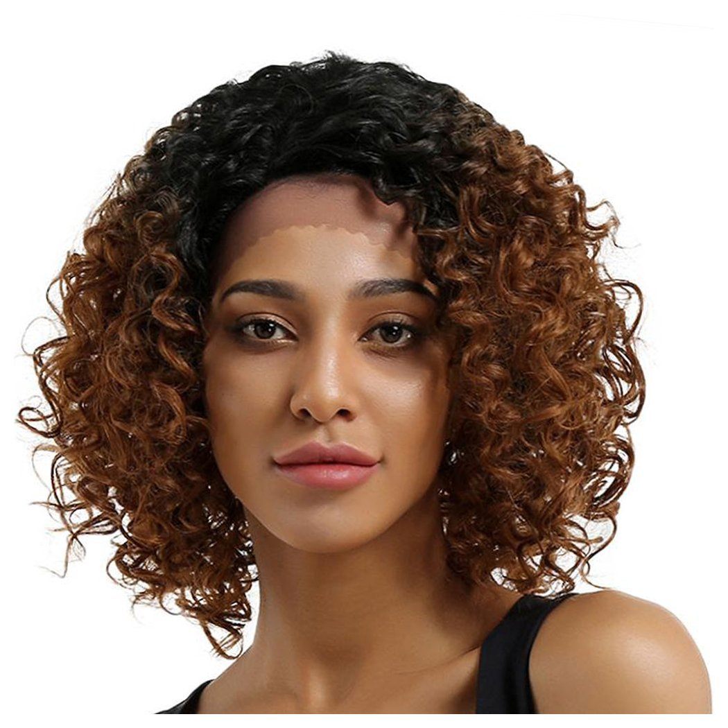 Inkach - Short Curly Wig ❤️ Womens Long Lace Front Wavy Bob Wig ❤️ Heat Resistant Synthetic Hair Full Wigs (Brown)